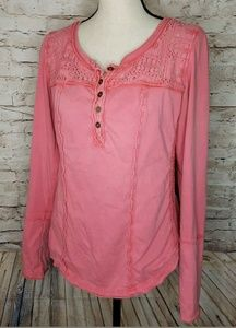 Boho Free People Long sleeve Sexy Coral Pink top S